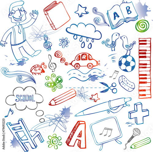 School doodles, vector set - 79693220
