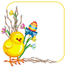 Easter background with chicken and willows