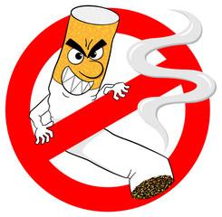 Nichtraucherzeichen mit Comic Zigarette