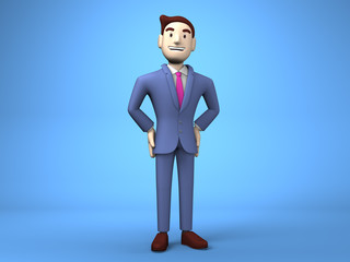 Smile Businessman On Blue Background