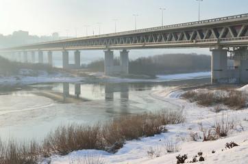 Нижний Новгород, Метромост через реку Оку в тумане
