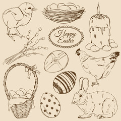 Set of sketch Easter icons