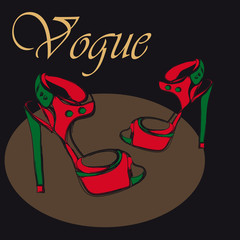 High heel red and green shoes on black background