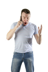 angry man shouting talking on a mobile phone on a white