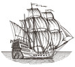ship vector logo design template. sailboat or frigate icon. - 79694457