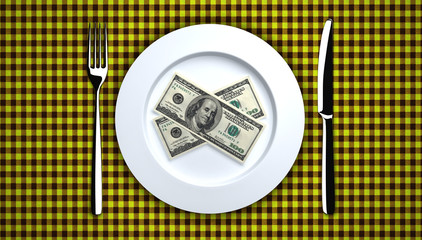Lunch of hundred-dollar bills