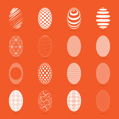 Easter eggs on a orange background
