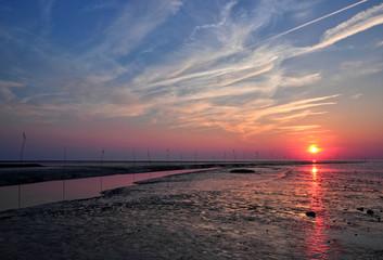 Sonnenuntergang Nordseeküste - Weltnaturerbe Watenmeer