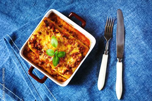 Italian Food. Lasagna plate. - 79694846