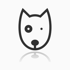 Animal Portrait Line Icon Vector Illustration. Dog