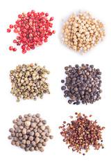 Colección de variedades de pimienta aislados sobre fondo blanco