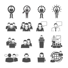 Business team demographic composition black icons