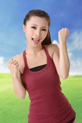 Happy smiling sport girl
