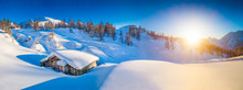 """Постер, картина, фотообои """"Winter landscape in the Alps at sunset with old mountain cottage"""""""