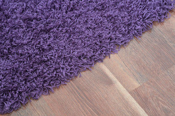 Purple shaggy carpet on brown wooden floor