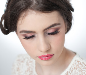 Hairstyle and make up - beautiful young girl art portrait