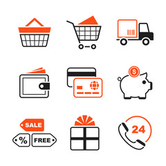 Shopping simple vector icon set