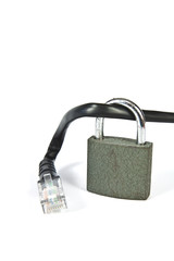 Internet cable with a padlock