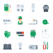 Electricity Icon Flat Set - 79697202