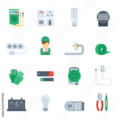 Electricity Icon Flat Set - 79697202