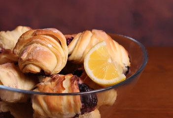 Croissant with blueberries