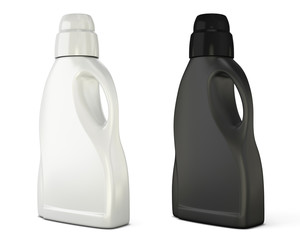 Black and white bottle template for detergent isolated on white