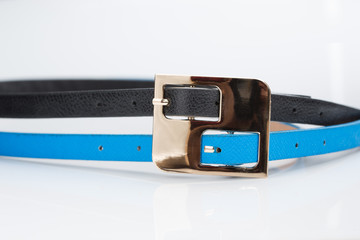 black blue belt with double buckle