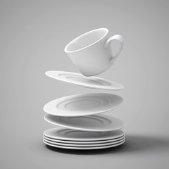 Falling cups and saucers