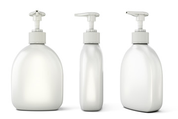 Set of bottles with liquid soap from different types
