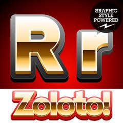 3D golden glossy font with black mat border. Letter R