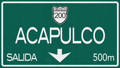 Acapulco Mexico Highway Road Sign