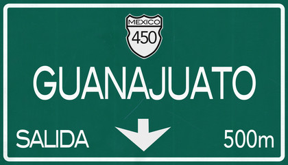 Guanajuato Mexico Highway Road Sign