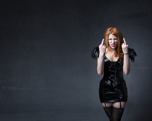gothic girl rude gestures
