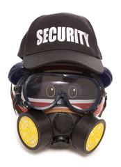 piggy bank wearing gas mask and security hat