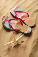 spiaggia con stella marina e infradito