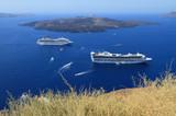 Cruise liners on Fira raid. Santorini, Greece poster