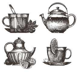 tea party vector logo design template. drink or food icon.