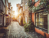 Old town in Europe at sunset with retro vintage filter effect - 79699432
