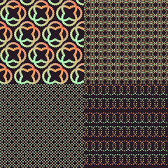 Set of four brown abstract retro colors patterns