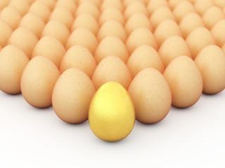 Golden egg, Multiple brown eggs , Easter eggs