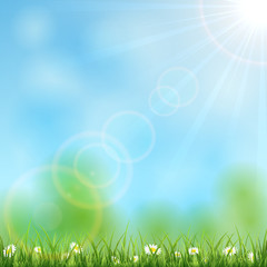 Nature background with sun
