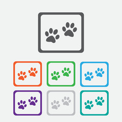Paw sign icon. Dog pets steps symbol. Round squares buttons with