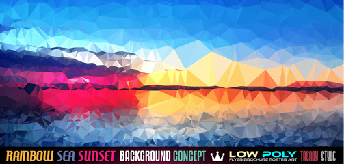 Low Poly tSea Sunset Art background for your polygonal flyer