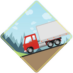 Heavy Truck Caution - Driving Down Steep Hill