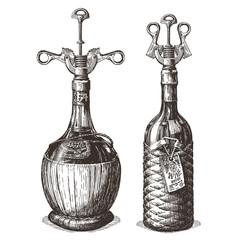 corkscrew vector logo design template. wine bottle or drinks