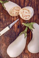 Two sliced vegetable marrow