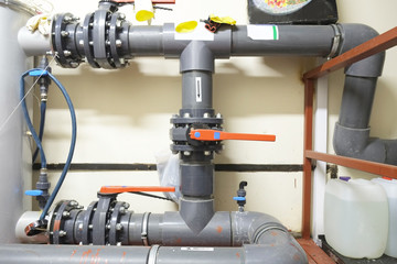 Water plastic pipes and valves
