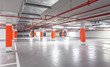 Photo of underground parking, industrial interior background. - 79702805
