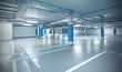 Leinwanddruck Bild - Cross processed photo of underground parking.