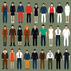 vector cartoon people, man, woman flat characters